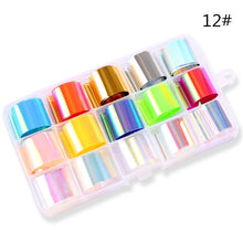 Load image into Gallery viewer, 10 Rolls/box Holographic Nail Foil Set 2.5*100cm AB Laser Broken Glass Transfer Sticker Manicure Nail Art Lace Decals New Design