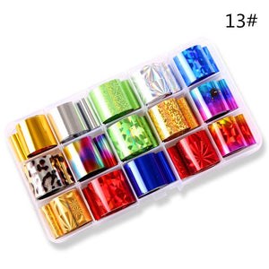 10 Rolls/box Holographic Nail Foil Set 2.5*100cm AB Laser Broken Glass Transfer Sticker Manicure Nail Art Lace Decals New Design