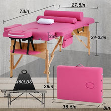 "Load image into Gallery viewer, PINK Massage Table Bed Spa Bed 2 Fold Portable 73"" W/Sheet Cradle Cover 2 Bolsters"