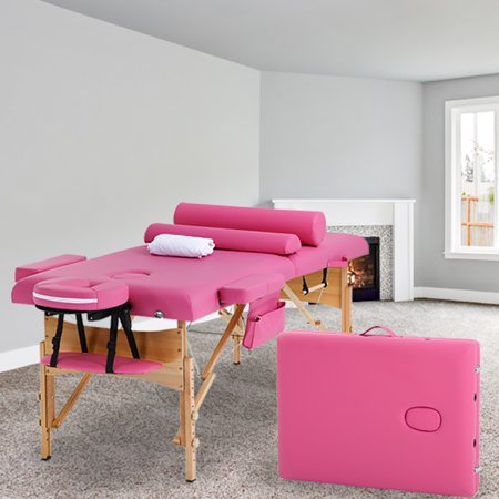 "PINK Massage Table Bed Spa Bed 2 Fold Portable 73"" W/Sheet Cradle Cover 2 Bolsters"