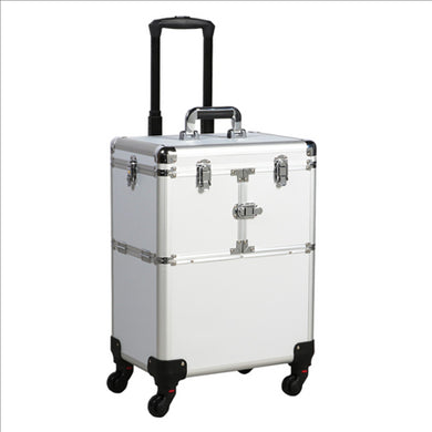 Aluminum Trolley NAIL TECH OR Makeup Case Rolling Beauty Cosmetic Lock Box