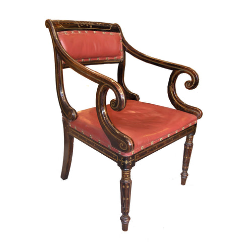 Regency period faux rosewood and brass inlaid Arm-Chair
