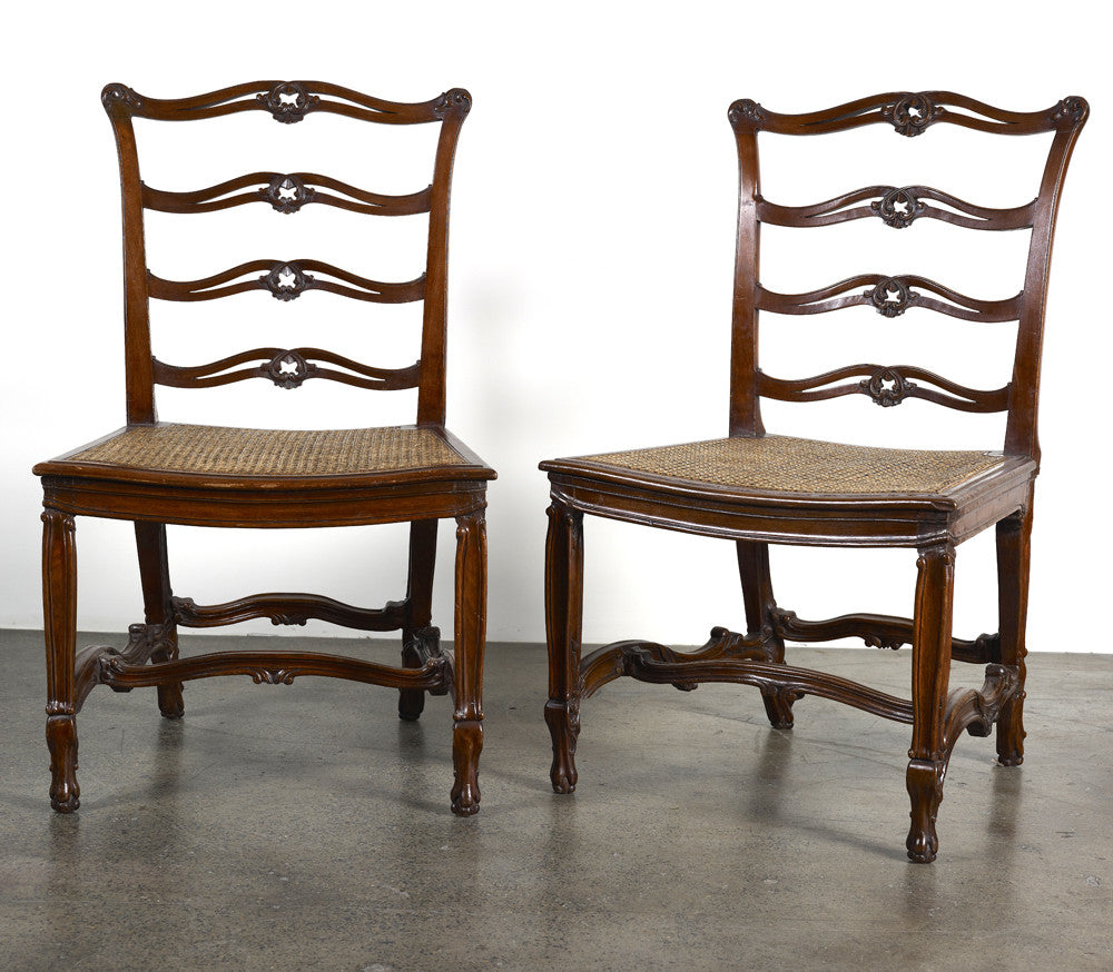3rd Republic period mahogany Chippendale revival Chairs