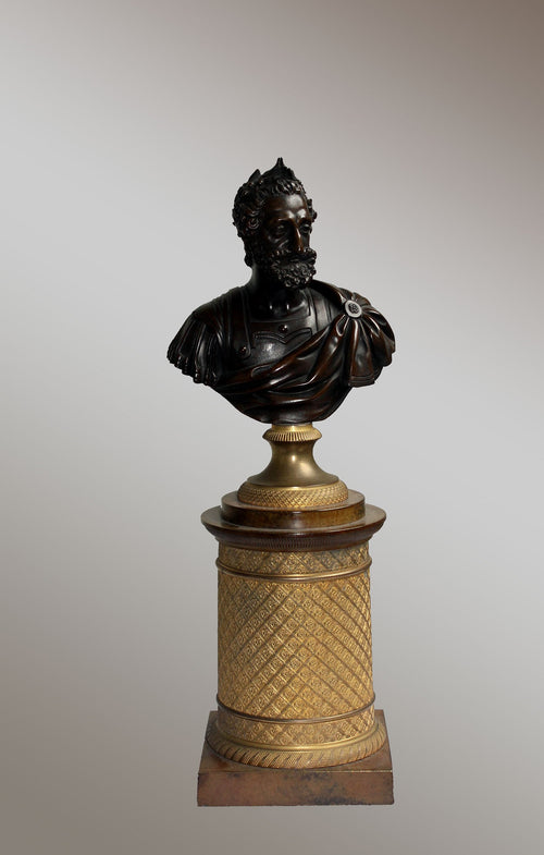 Charles X period ormolu mounted bronze Bust of Henry IV