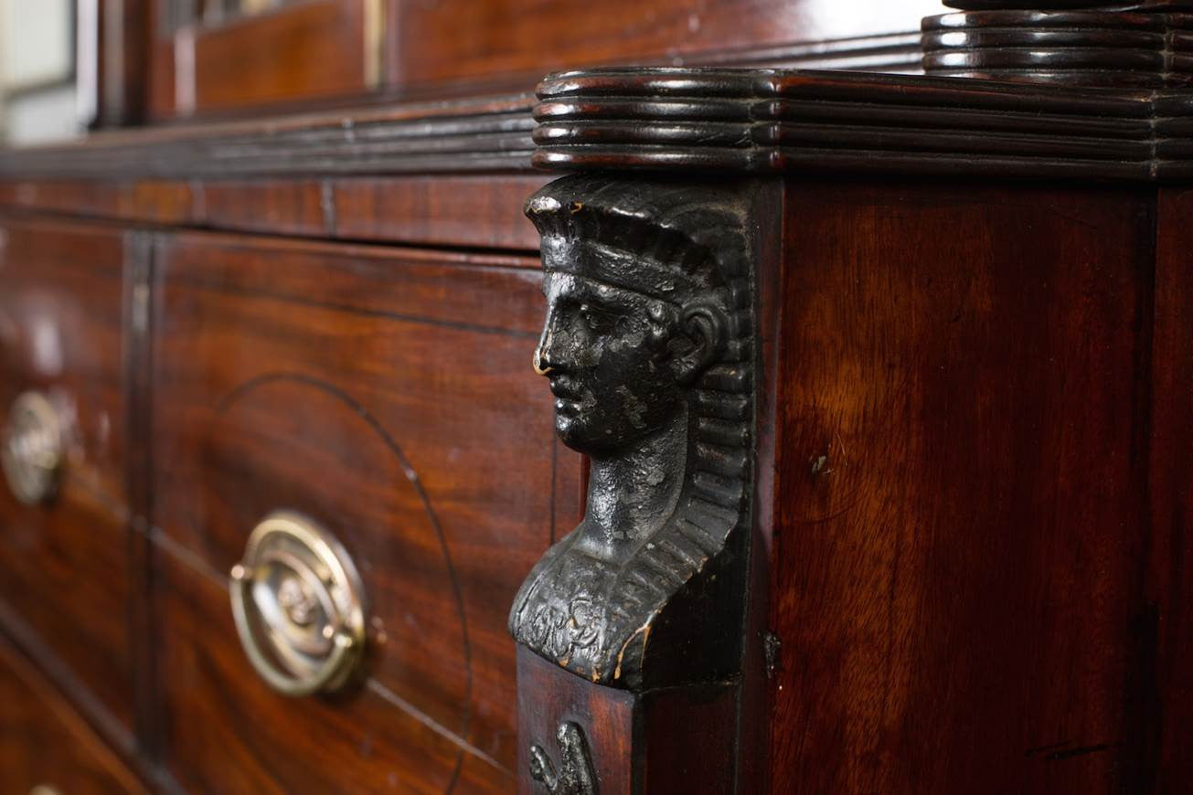 Sheraton Egyptian Revival Battle of the Nile Secretaire Bookcase
