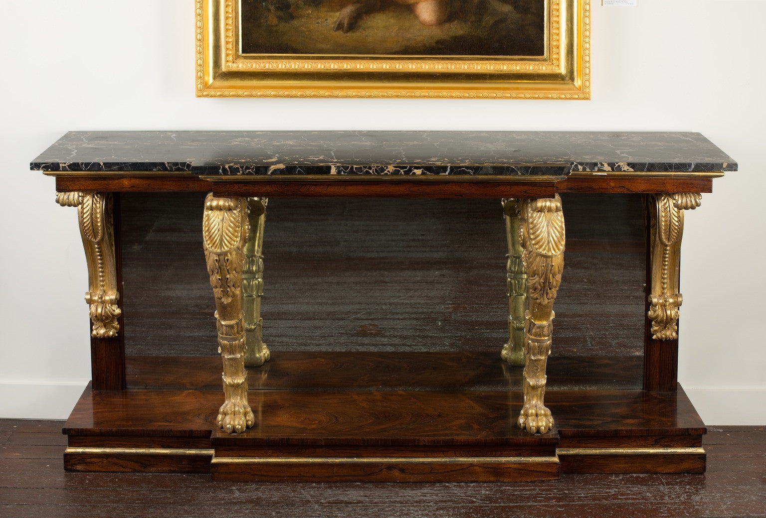 George IV rosewood and parcel-gilt mirror-backed Side Table