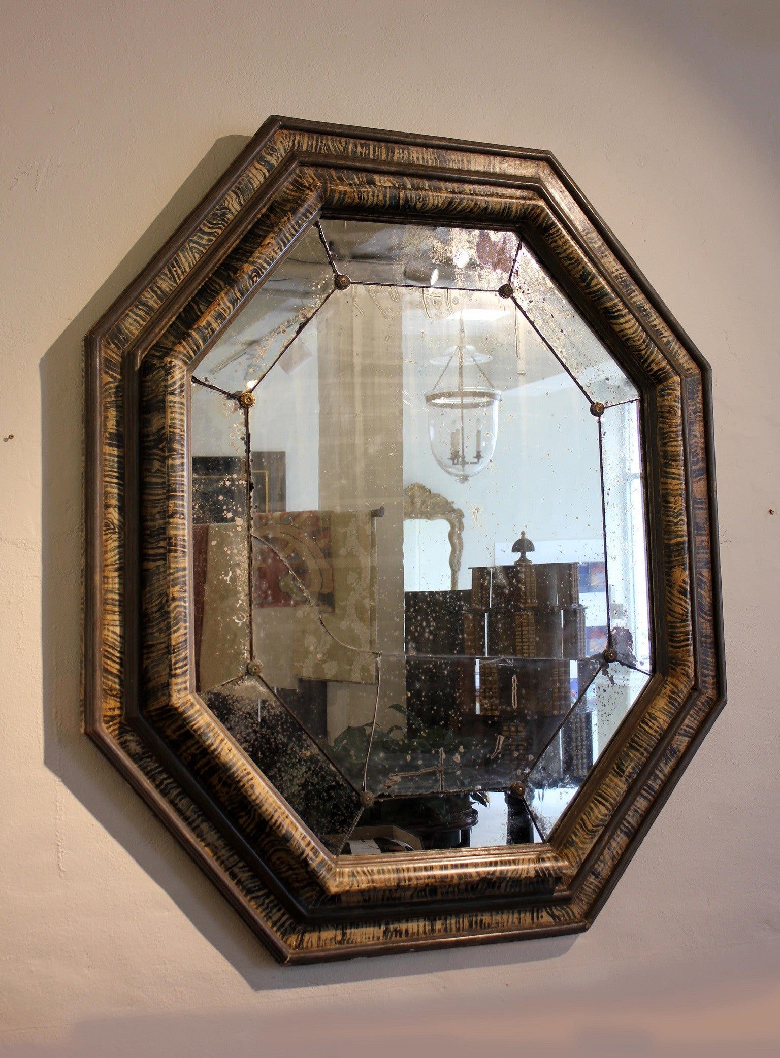 French faux tortoiseshell  bolection-mould Mirror