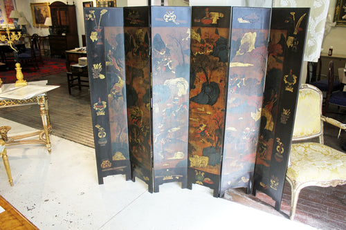 A 6 panel Japanned lacquer floor Screen