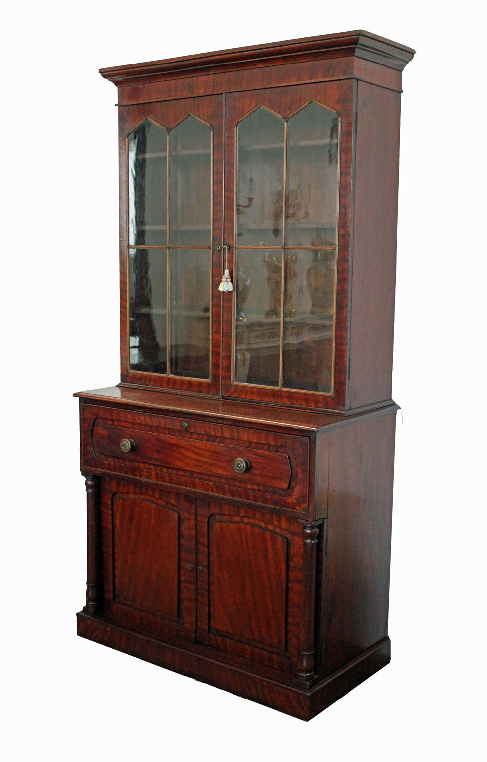 A Colonial Cedar Secretaire Bookcase