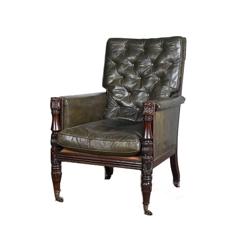 A large George III carved mahogany Gainsborough Chair