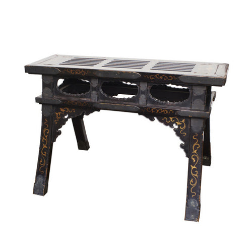 Chinese Black Lacquered Bench