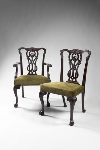 A pair 3rd Republic period mahogany Chippendale revival Chairs