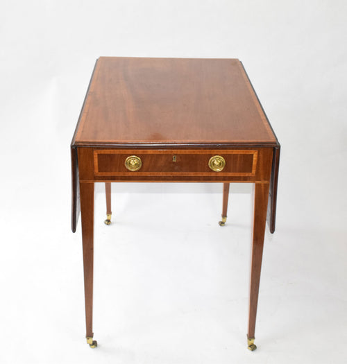 George III mahogany & rosewood, cross-banded Pembroke Table