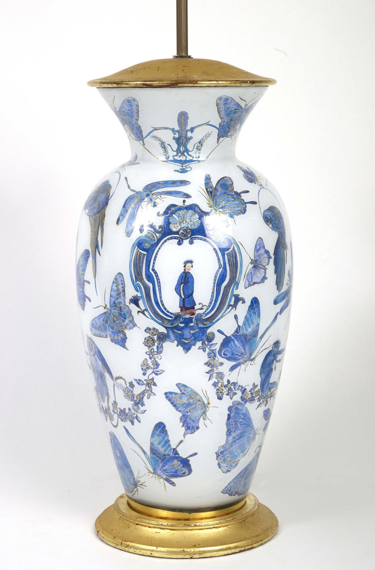 Penelope Sitwell decalcomania white, blue and gilt Chinoiserie decorated baluster Vase Lamp