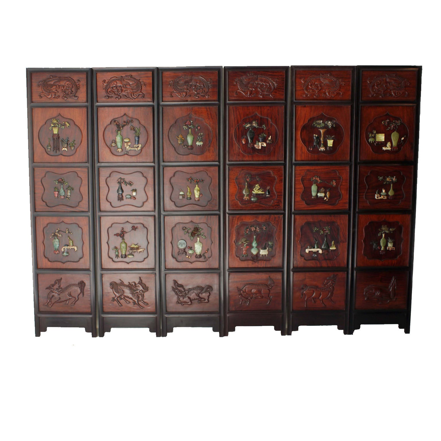 Six panel Chinese hardstone mounted timber Screen