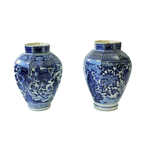 Near pair of late 17th Century Japanese Octagonal Arita Blue and White Vases