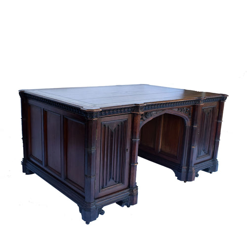 Gothic Revival Oak Partner Desk