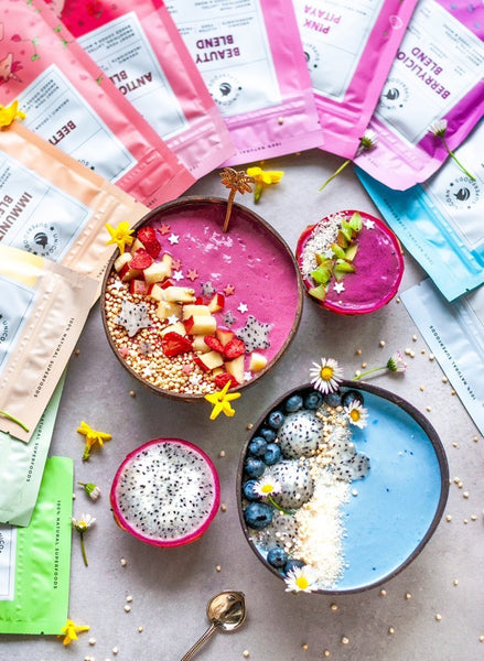 Colourful and nutritious superfood powders