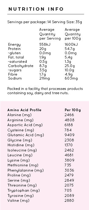 vanilla plant protein nutritional table