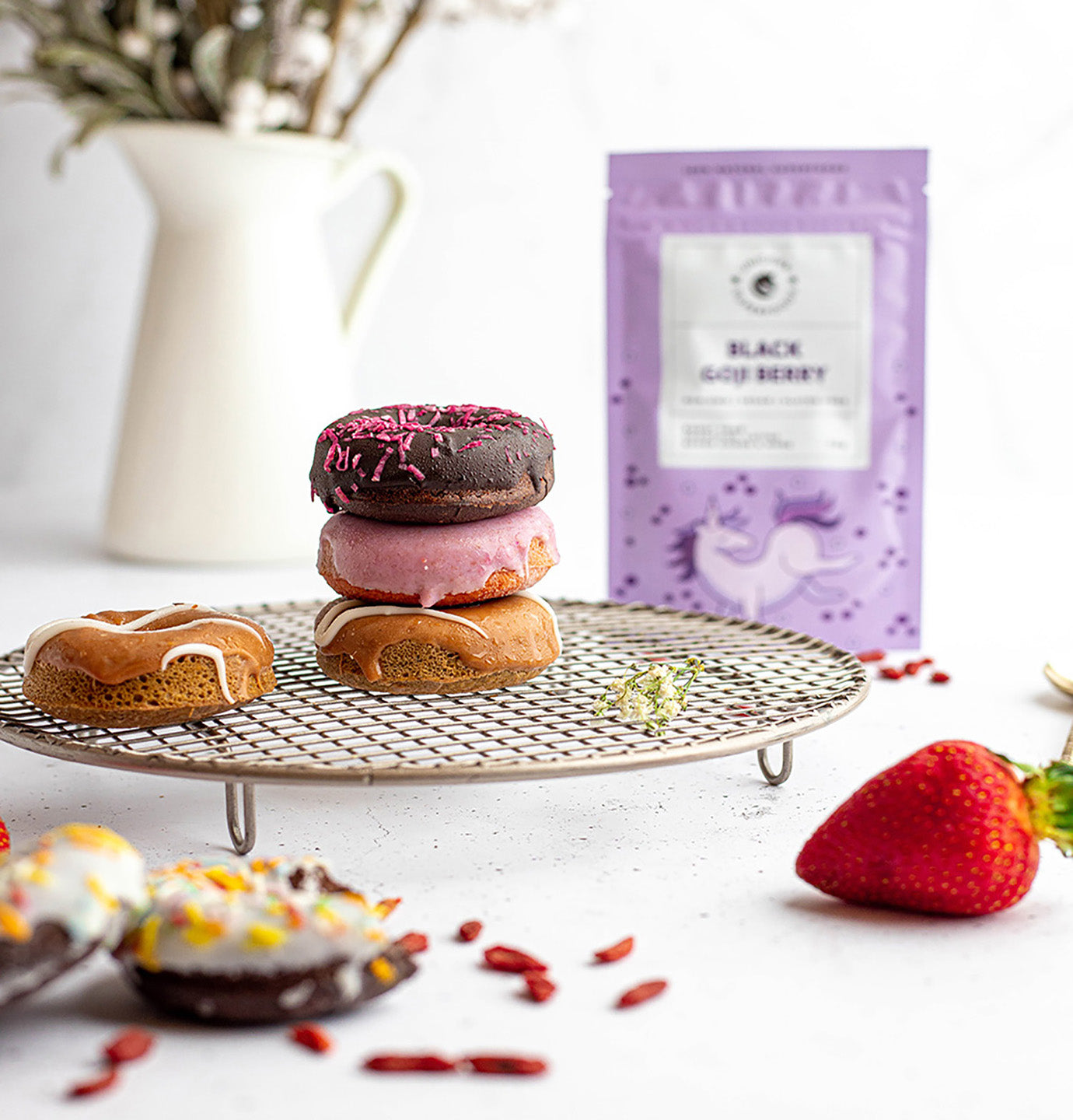 black goji berry donuts