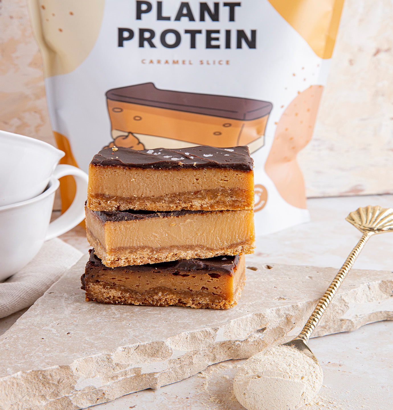 plant protein caramel slice