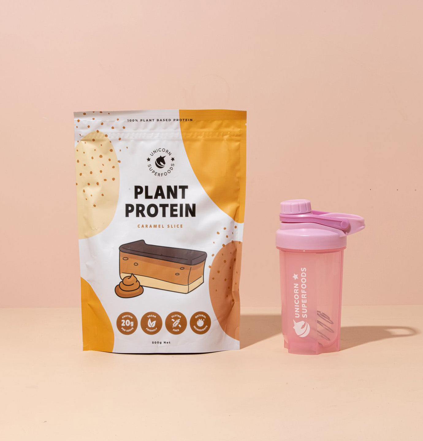 Caramel plant protein and shaker