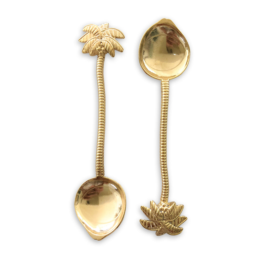gold palm tree spoons