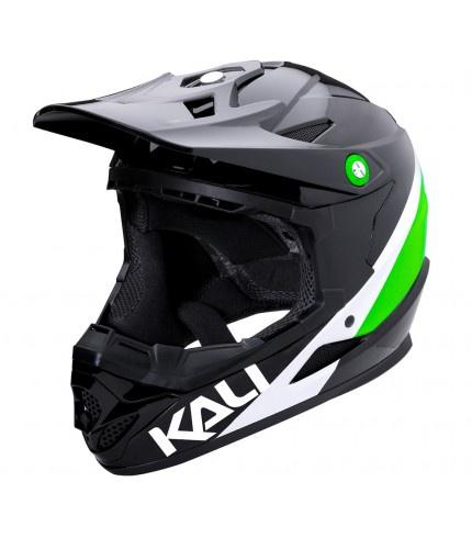 Kali Zoka Pinner Gloss Blk Lime Wht Full Face Helmet - Pitcrew.nz