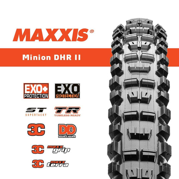 Maxxis Minion DHR II 27.5 x 2.4 Tyre maxx Terra Foldable - Pitcrew.nz