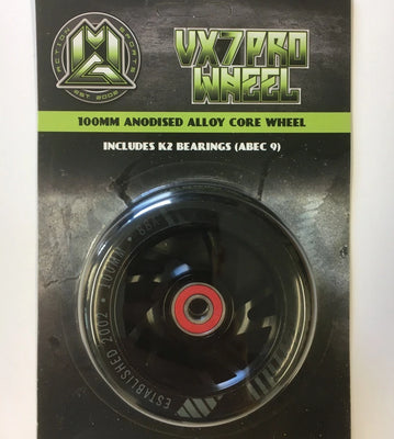 100mm Alloy Core Scooter Wheel BLK - Pitcrew.nz