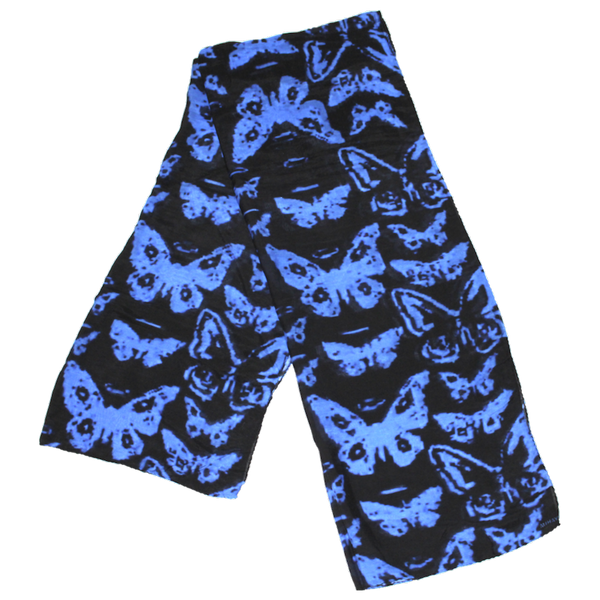 Digital Butterfly Blue-Violet on Black Silk - ITALY