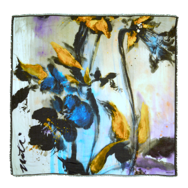 Golden Blue Orchid Silk Scarf with Black Border - ITALY