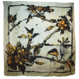 Gold and Black Leaf Vine on White Silk - ITALY