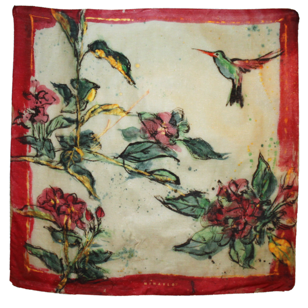 Humming Bird over Red Roses Silk Scarf - ITALY
