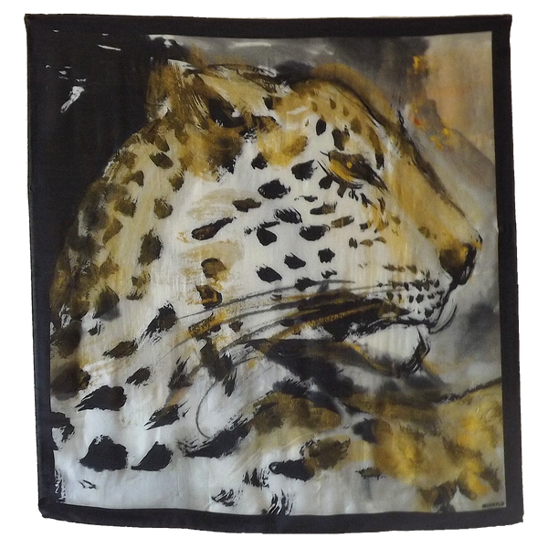 Leopard Head with Border on Black Silk - ITALY