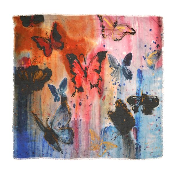 Multi-Colour Butterfly Mix Silk Scarf - ITALY