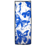 Italian Sky Blue Butterfly - Drip Pattern on White Silk - ITALY