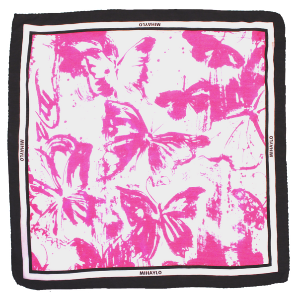 Pink Butterfly Kerchief - Drip Pattern on White Silk - ITALY