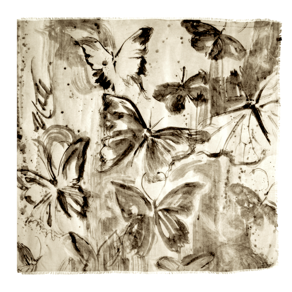 Charcoal Butterfly - Drip Pattern on Beige Silk - ITALY