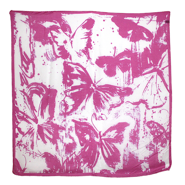 Pink Butterfly - Drip Pattern on White Silk - ITALY