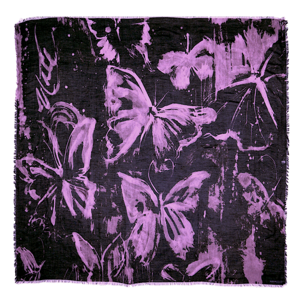 Purple Butterfly - Drip Pattern on Black Silk - ITALY