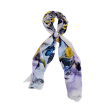 Floral Vine - Gold and Blue Leaves Silk Scarf - ITALY
