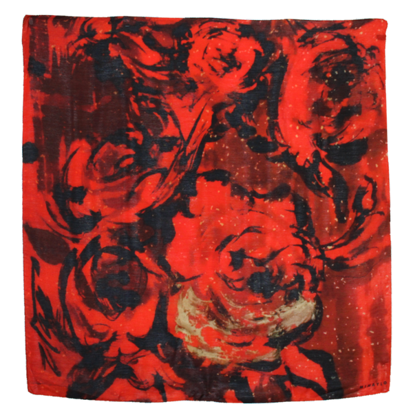 Red Roses with  Gold Leaf Accent on Black Silk - ITALY