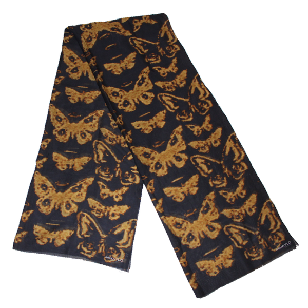 Digital Butterfly in Caramel on Black Silk - ITALY