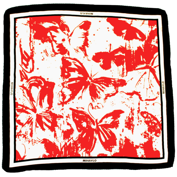 Crimson Butterfly Kerchief - Drip Pattern on White Silk - ITALY
