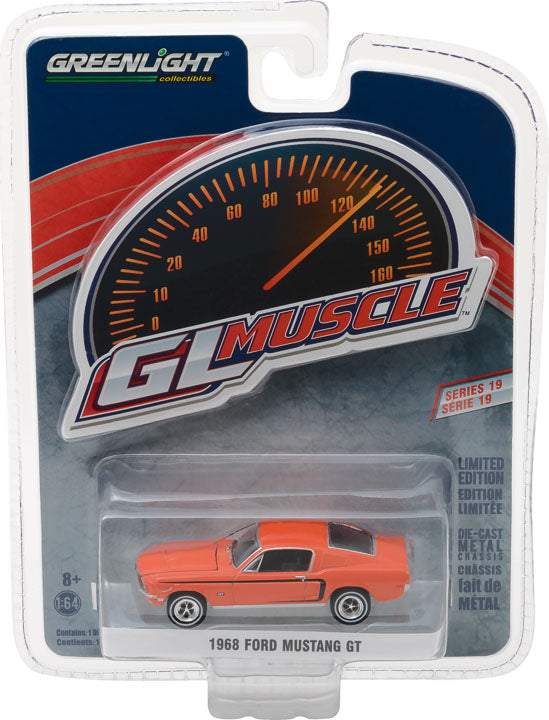 GreenLight 1/64 GreenLight Muscle Series 19 - 1968 Ford Mustang GT - Madagascar Orange 13190-A