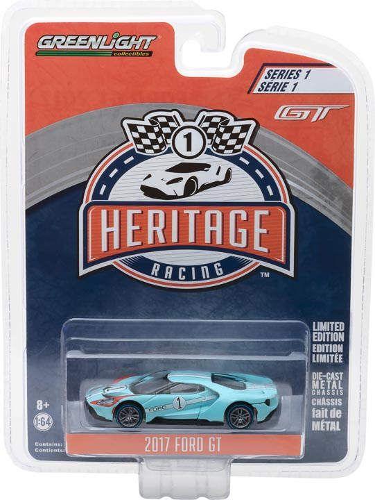 GreenLight 1/64 Ford GT Racing Heritage Series 1 - 2017 Ford GT 1966 #1 Ford GT40 Mk II Tribute 13200-B