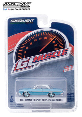 GreenLight 1:64 GreenLight Muscle Series 23 - 1964 Plymouth Sport Fury 426 Max Wedge - Turquoise with White Top 13270-A