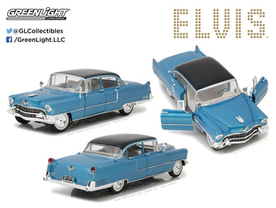 GreenLight 1/18 Elvis Presley (1935-77) - 1955 Cadillac Fleetwood Series 60 Blue Cadillac 13502