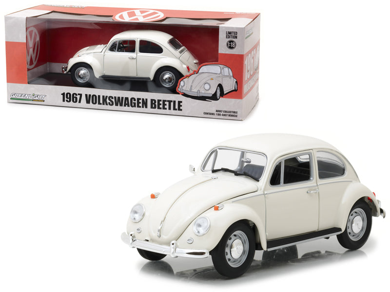 GreenLight 1/18 1967 Volkswagen Beetle Right-Hand Drive - Lotus White 13510